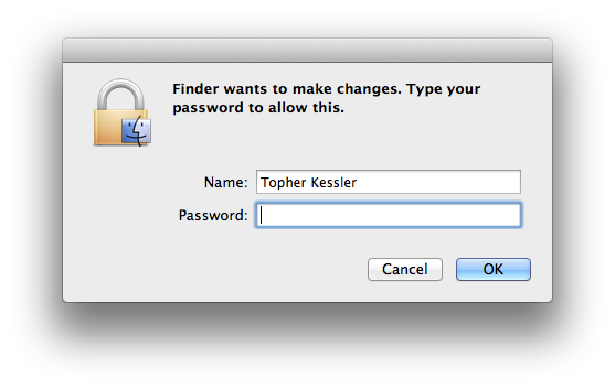 Authentication window in OS X