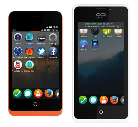 GeeksPhone's lower-end Keon, left, and higher-end Peak are designed for programmers wishing to improve Firefox OS, Mozilla's browser-based operating system.