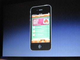 Game Center in action at Apple's most recent press event.