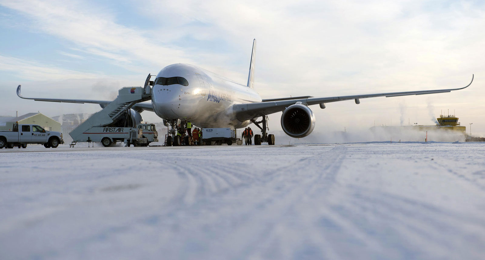 The Airbus A350 XWB endures cold-weather testing in Iqaluit, Canada.