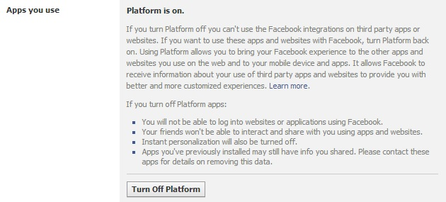 "Facebook App Settings ""Apps you use"" options"
