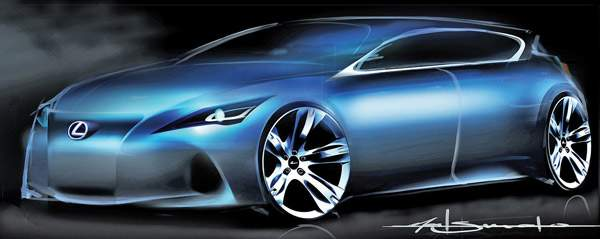 Lexus may take on BMW's 1 series and the Audi A3 with an entry-luxury compact. The concept shown in this sketch will be unveiled next month at the Frankfurt auto show.