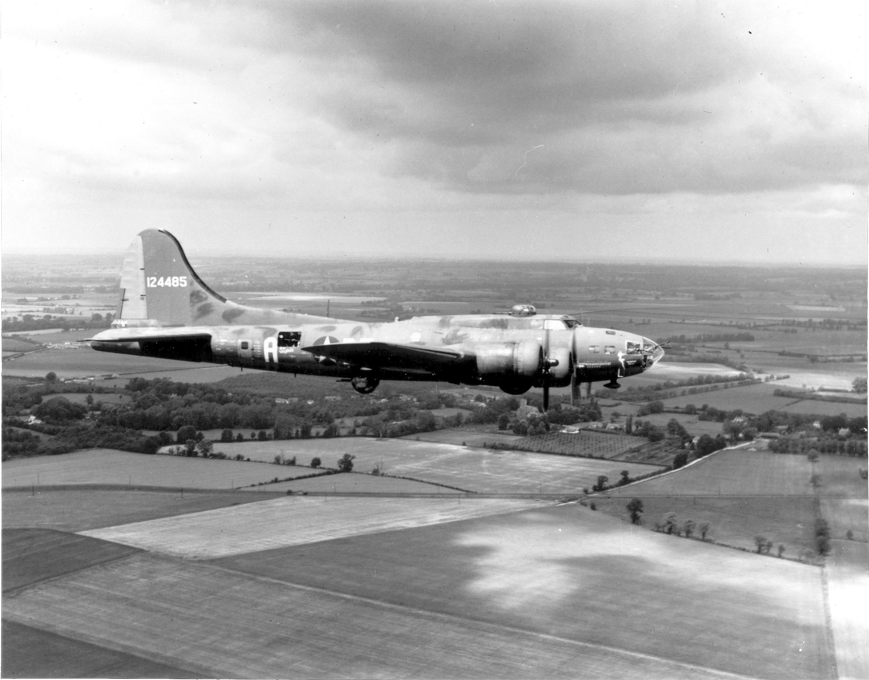 """ENGLAND: AIRPLANES, MEMPHIS BELLE The Boeing B-17 """"The Memphis Belle"""" is pictured on her way back to the United States after completing 25 missions from an airbase in England.      9 June 1943."""