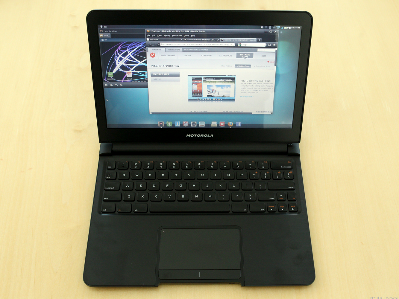 When plugged into the dock, the Droid Bionic's Webtop app transforms the phone into portable PC.