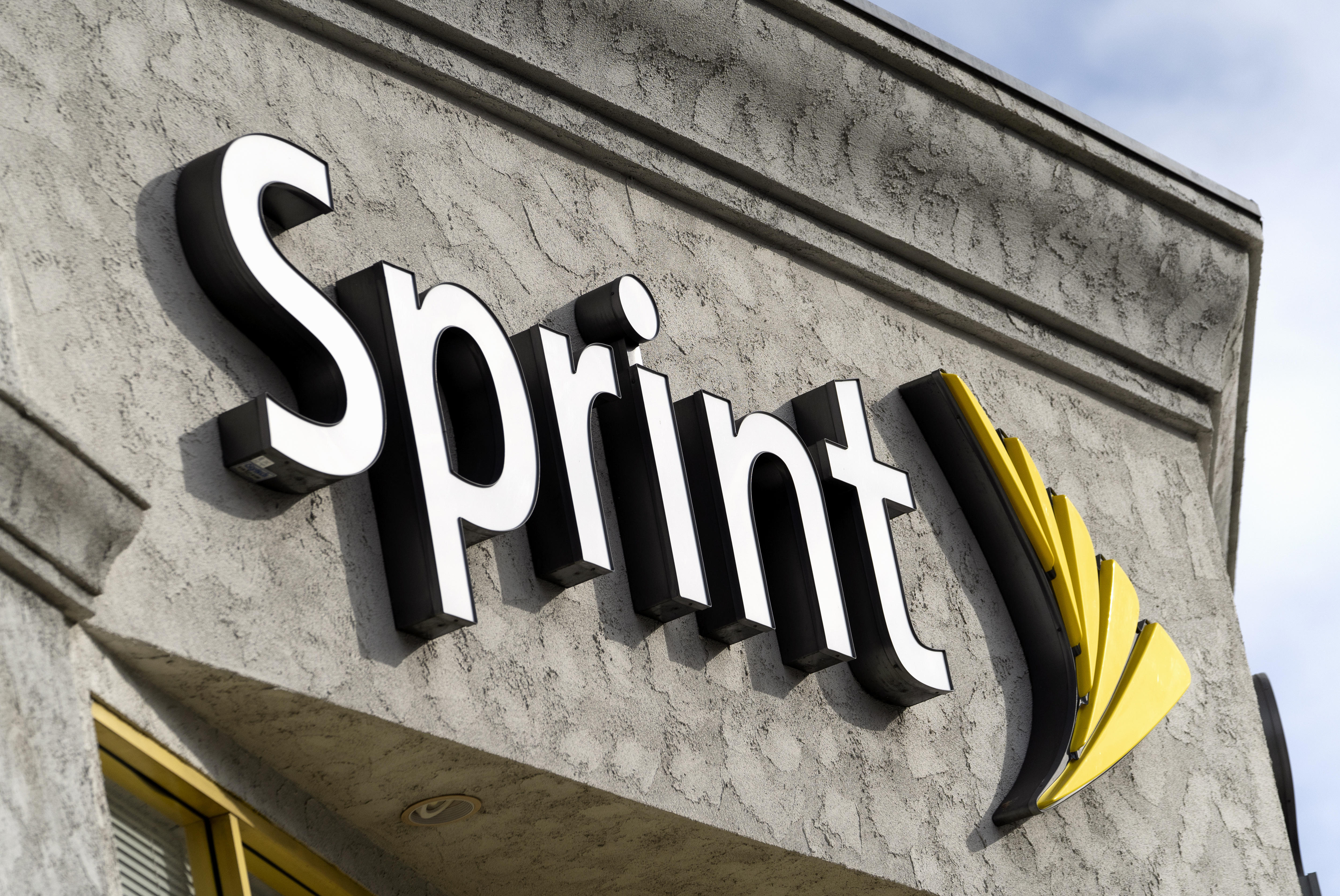A Sprint store logo seen in Los Angeles, California