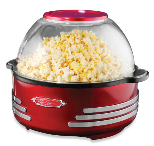Makes fresh popcorn despite which era the gadget looks like it came from.