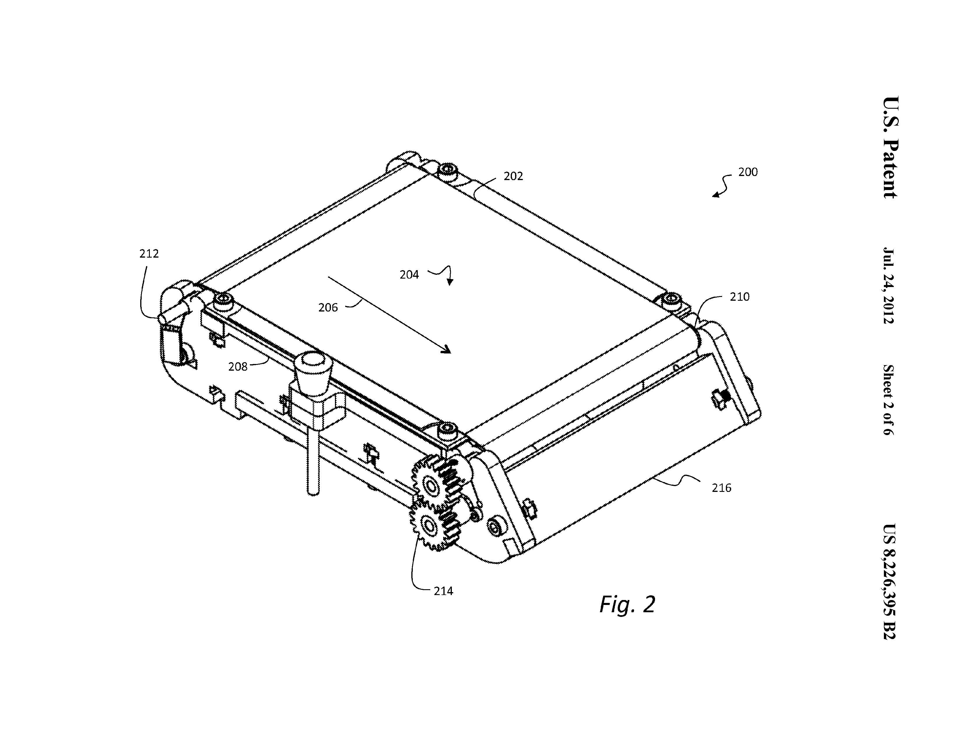 An image from MakerBot's patent, U.S. No. 8,226,395 B2, for a conveyor-based 3D printing build platform.