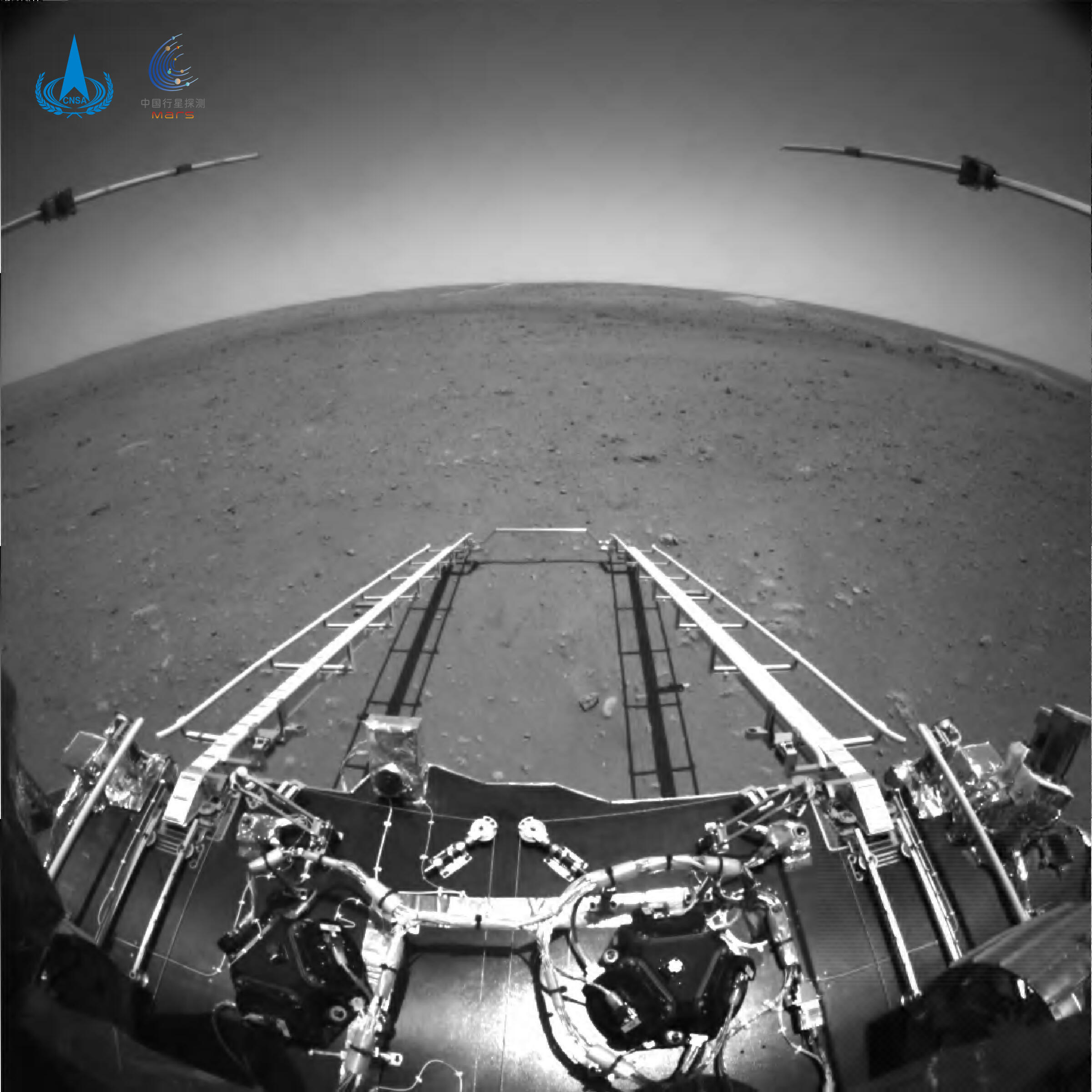 Black-and-white image from the Zhurong Mars rover