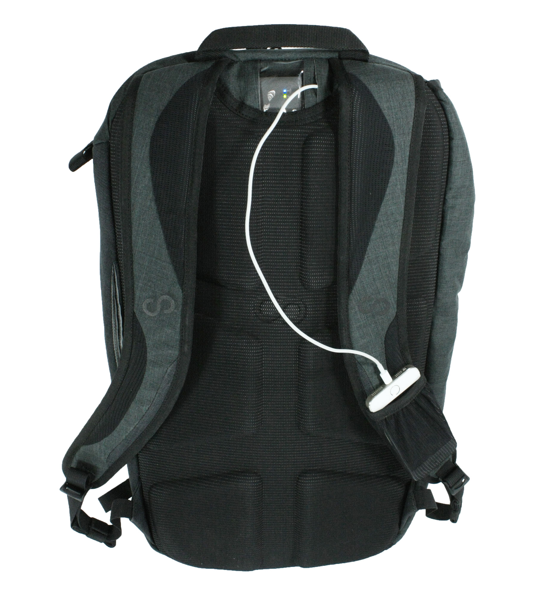 The Colfax backpack has an internal charging system.