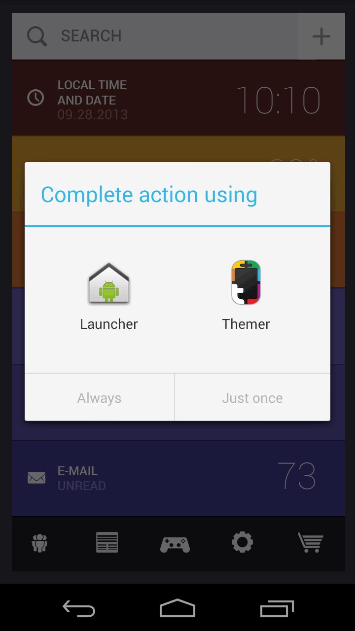 When you hit the home button on your Android phone, Themer asks you if you want to use its launcher. You can set it to be default, and if you don't like it, you can go back to the regular Android home screen.