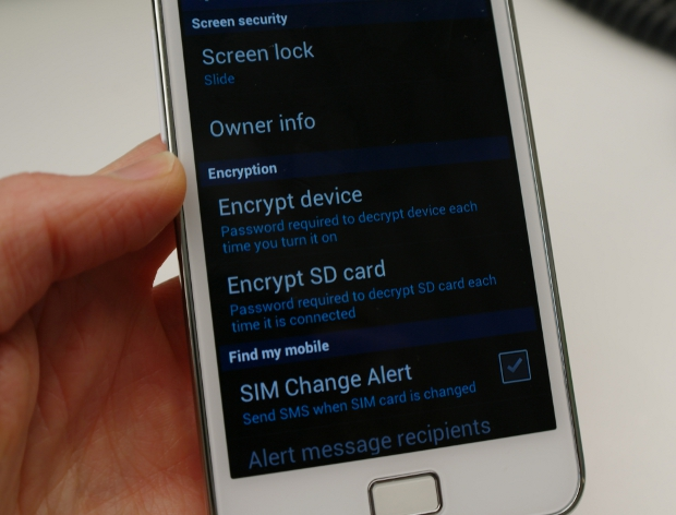 Samsung Galaxy S2 ICS encryption