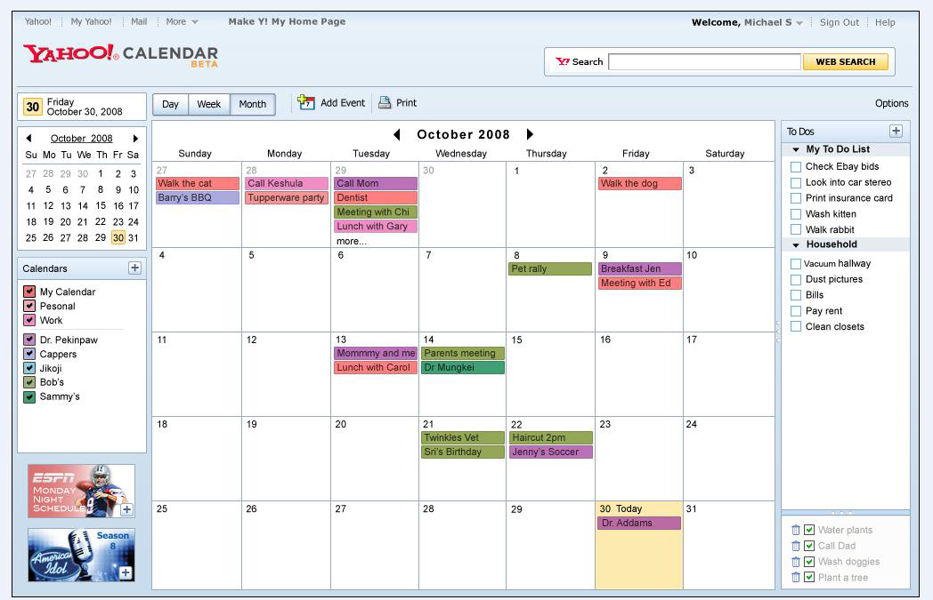 Different colors represent entries from different calendars.