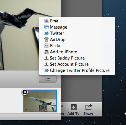 The new sharing tools built into Mountain Lion.