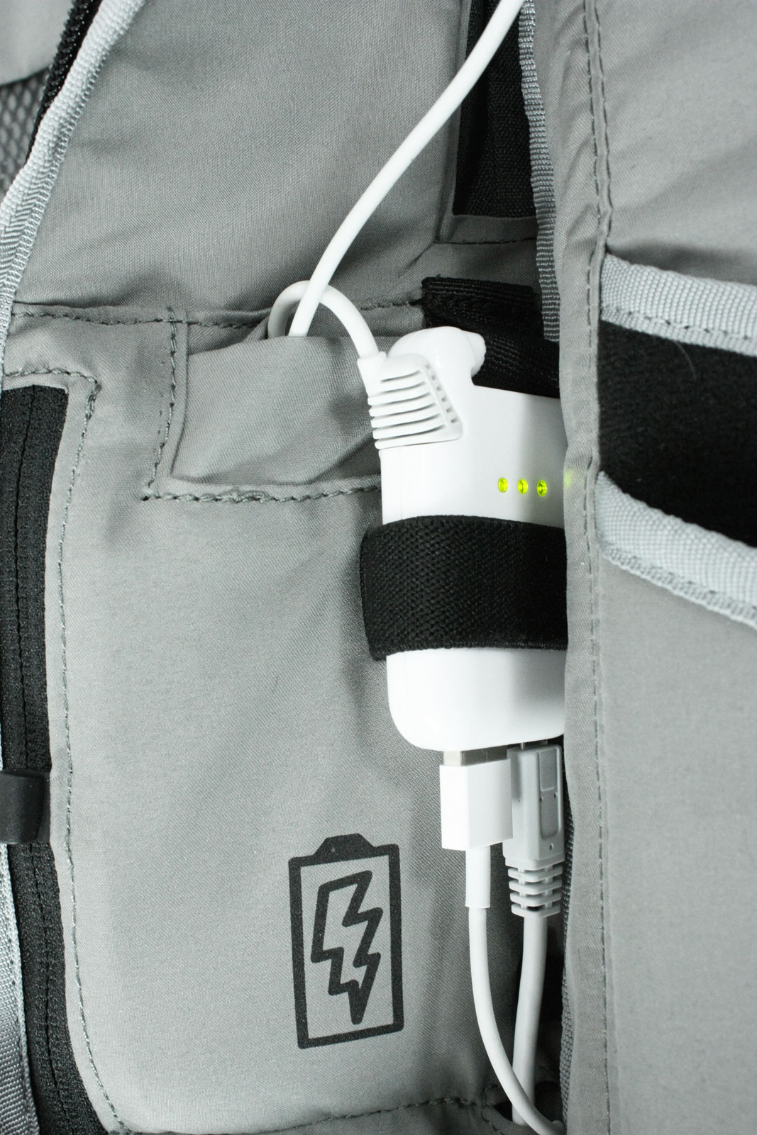 Inside the Colfax backpacks is a lithium polymer battery with enough charge to top up a cell phone twice.