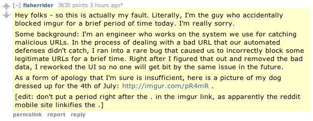 The engineer's comment on Reddit