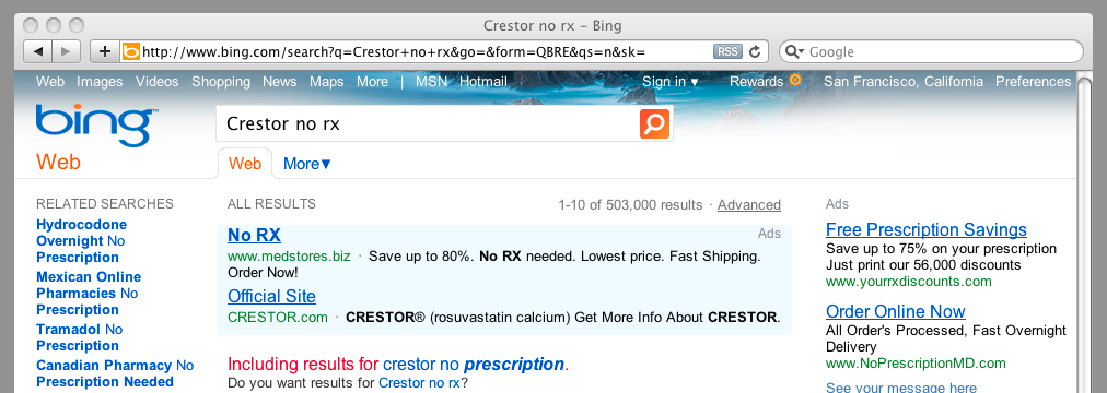Caption: Cholesterol pill advertisement on Microsoft's Bing for no-prescription Web site that ships from India.