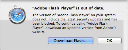 The new warning users see if they're running an older version of Flash.