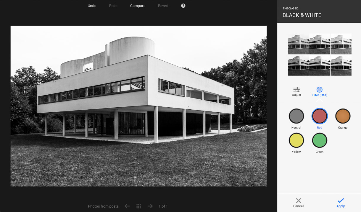 Google+ photo editing offers a variety of customizable black-and-white conversion options, including color filters that simulate the behavior of screw-on filters that attach to cameras.