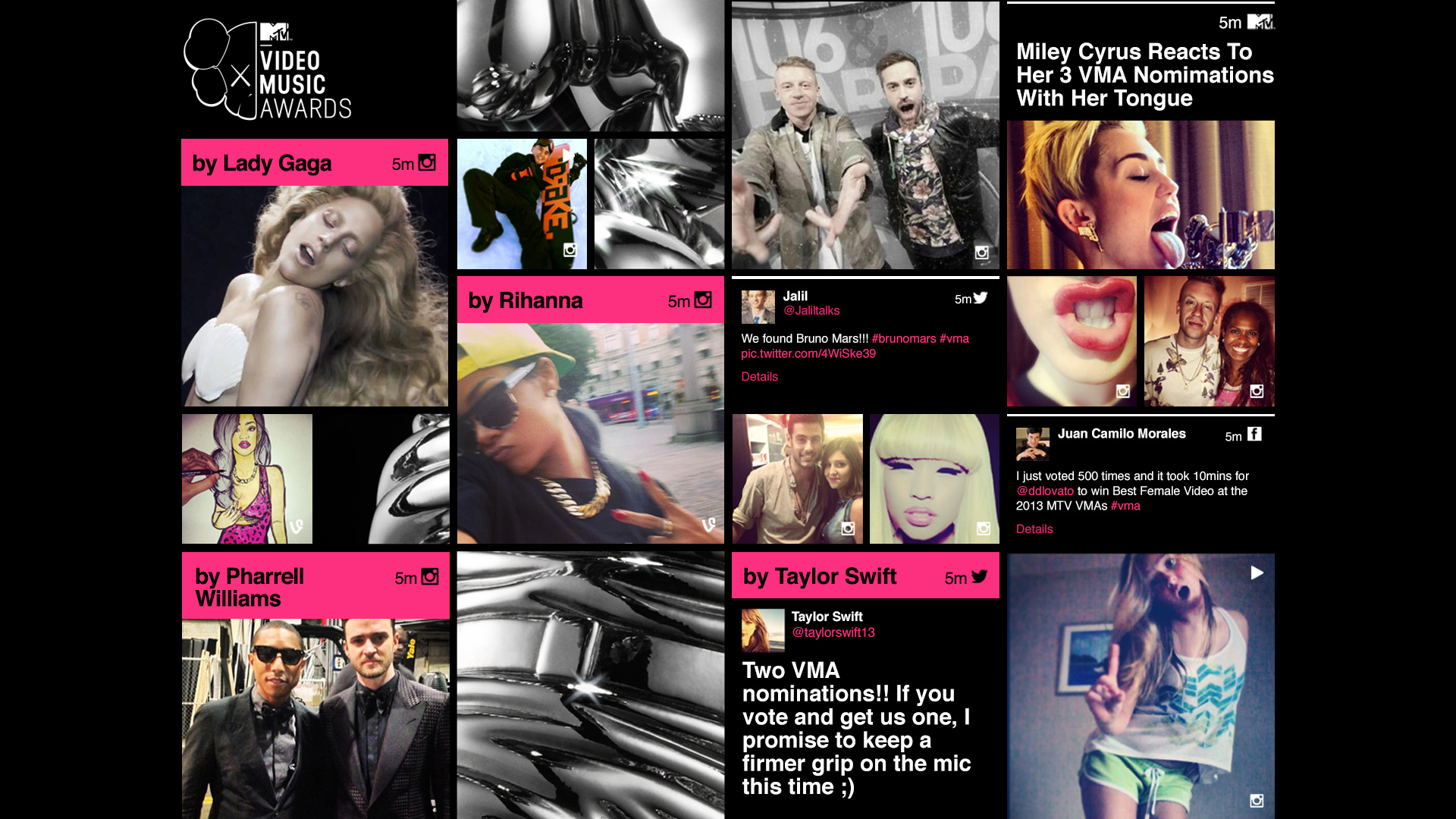 Screenshot of MTV's social radar