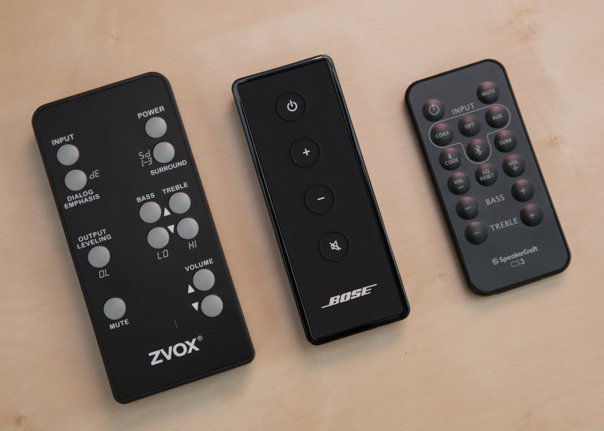 Bose Solo remote compared to others