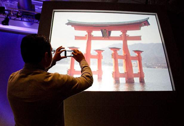Vic Gundotra, Google's vice president of engineering, takes a photo of the Itsukushima Shrine in Japan. The Google Goggles feature successfully identified it.