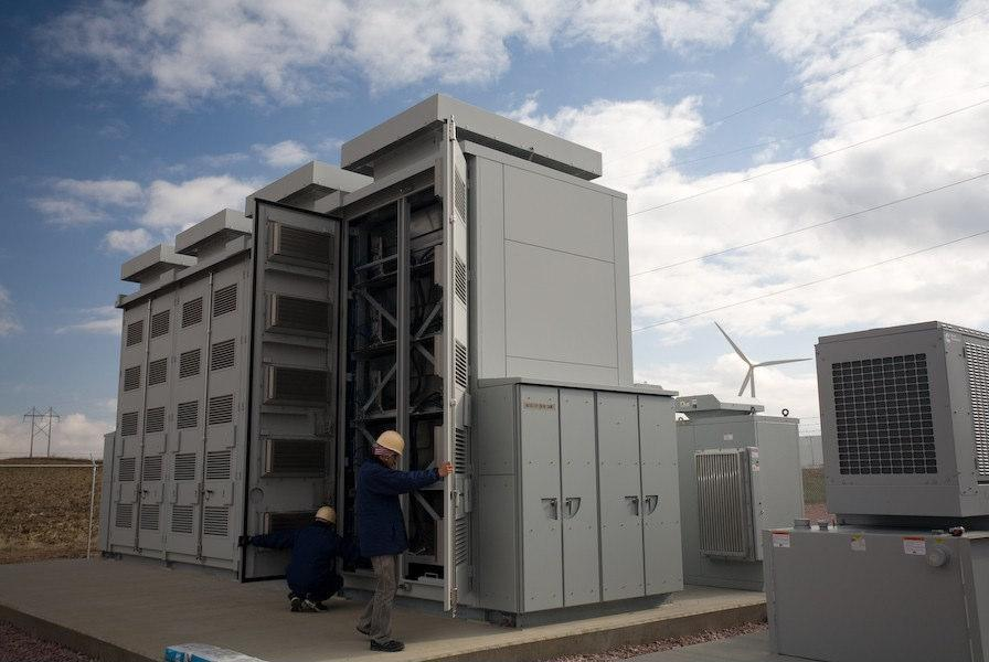 A sodium-sulfur battery tested to buffer energy from a wind farm in Minnesota.