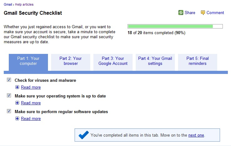Gmail Security Checklist