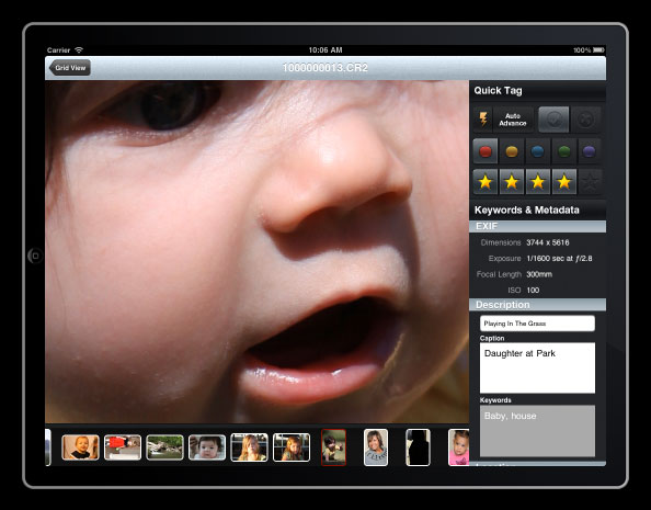 Photosmith is designed to let photographers sort, label, check focus, and add keywords before importing images to Lightroom.