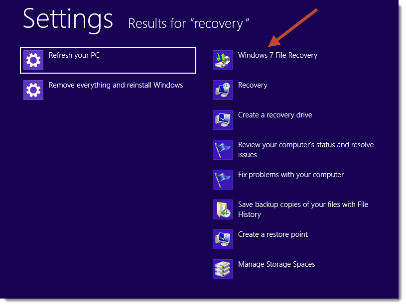 Search for recovery in Windows 8 settings