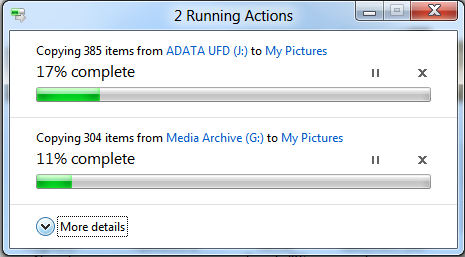 Windows 8 will display a single dialog box even when copying multiple files.