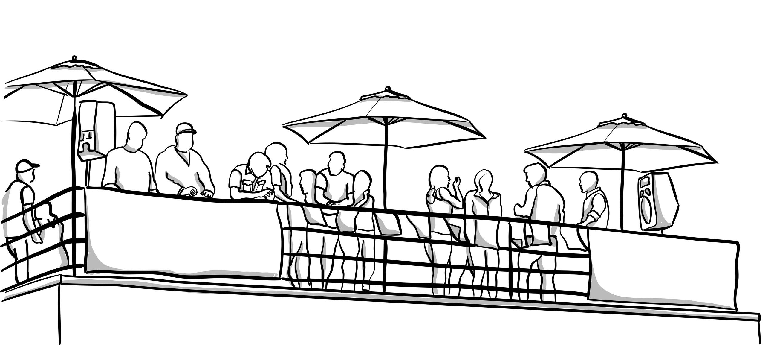 illustration of a crowd on a rooftop restaurant.