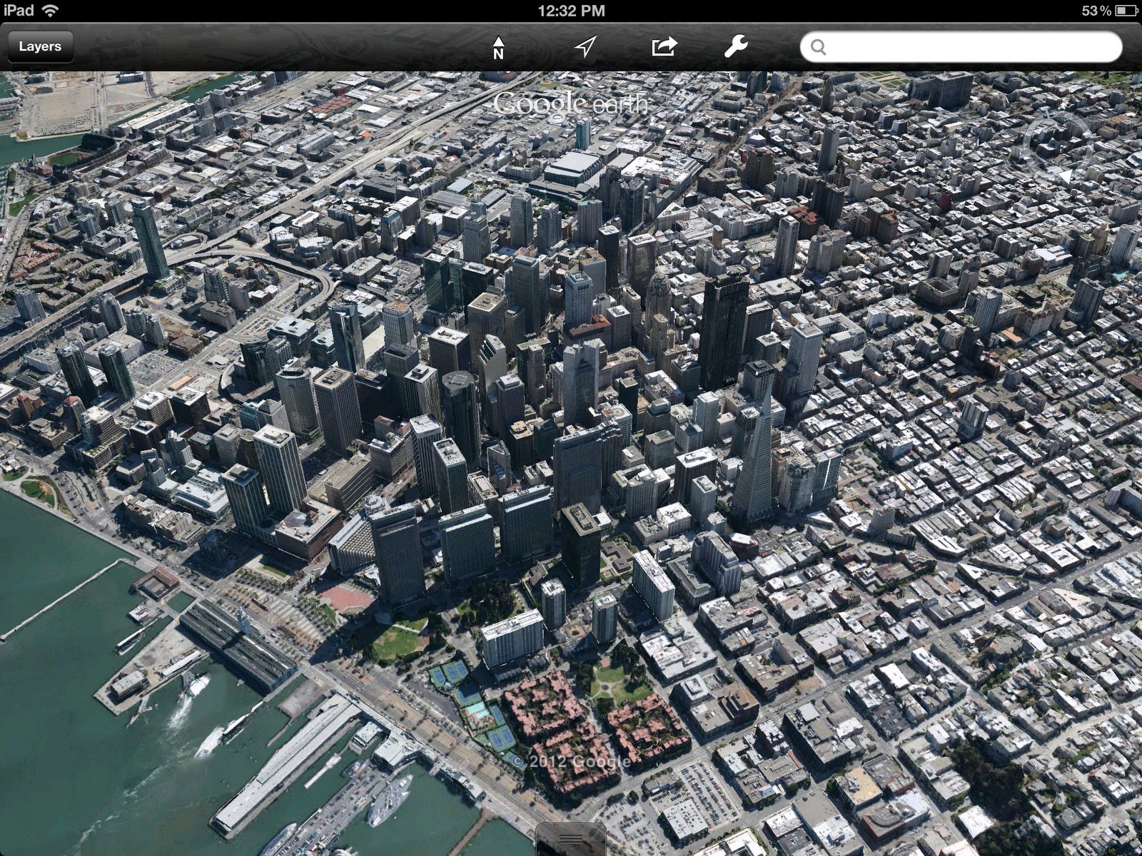 A 3D view of San Francisco in the newly-updated Google Earth app for iOS.
