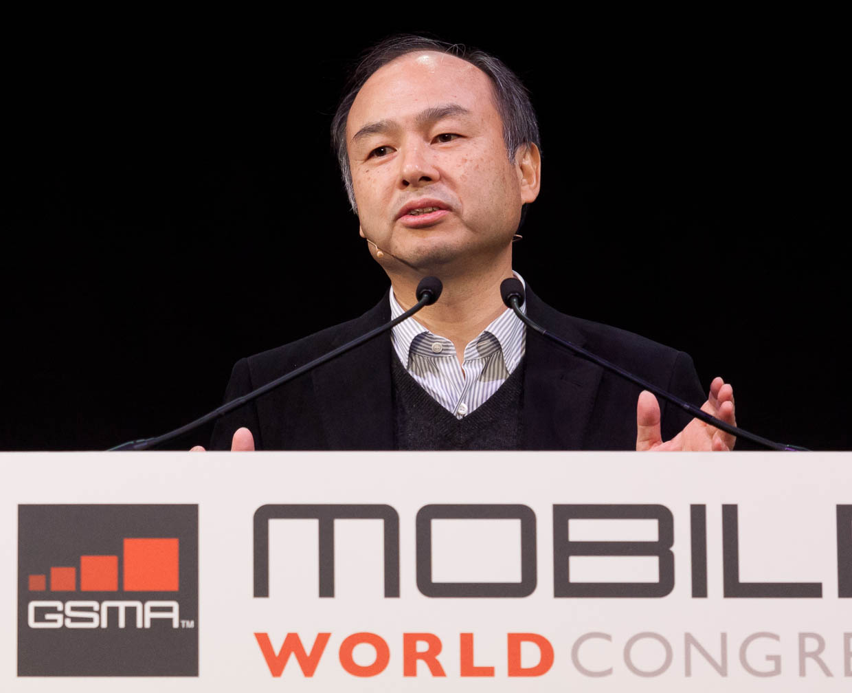 Softbank CEO Masayoshi Son speaking at Mobile World Congress in Barcelona in February 2011.