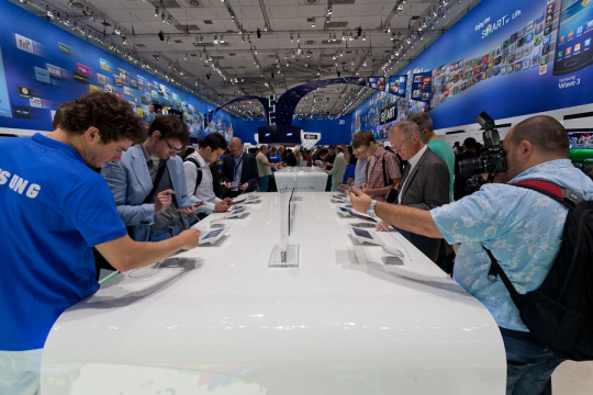 Attendees examined Samsung's Galaxy Tab 7.7 tablet at the IFA show in Berlin on Friday. The device has since been pulled from the company's booth.