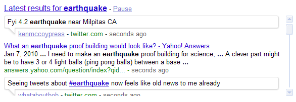 Google search shows earthquake-related search results after a quake near San Francisco.