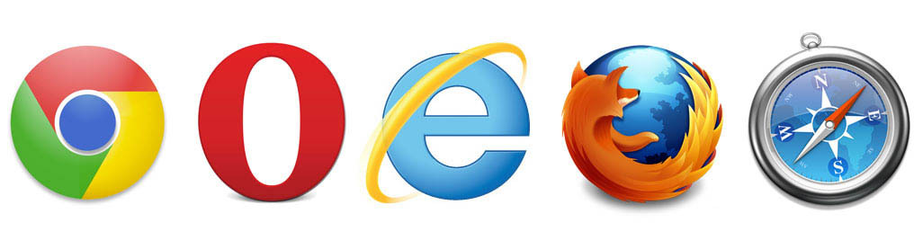 Five browser logos