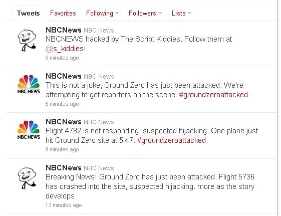 This screenshot shows the fake news tweets posted from a hacked NBC News Twitter account.