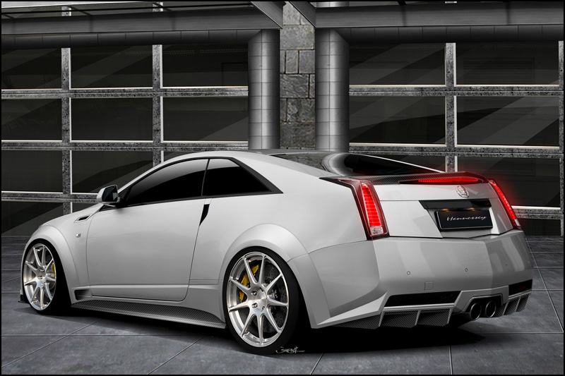 View of Hennessey's suped up Caddy from the rear.
