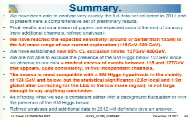 Guido Tonelli's conclusions about the LHC's CMS experiment results about the search for the Higgs boson.