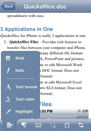 Documents to Go on iPhone