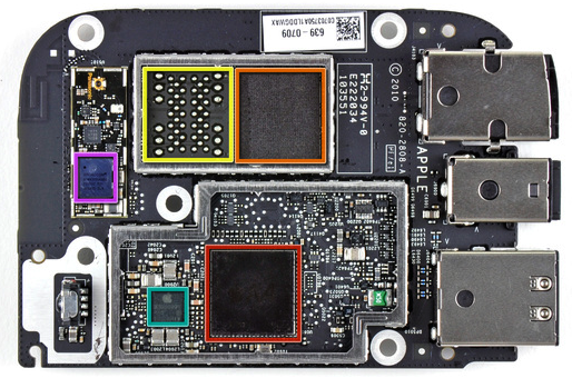 Apple TV main board: A4 chip (red), Samsung NAND flash (orange), Broadcom chip (purple).