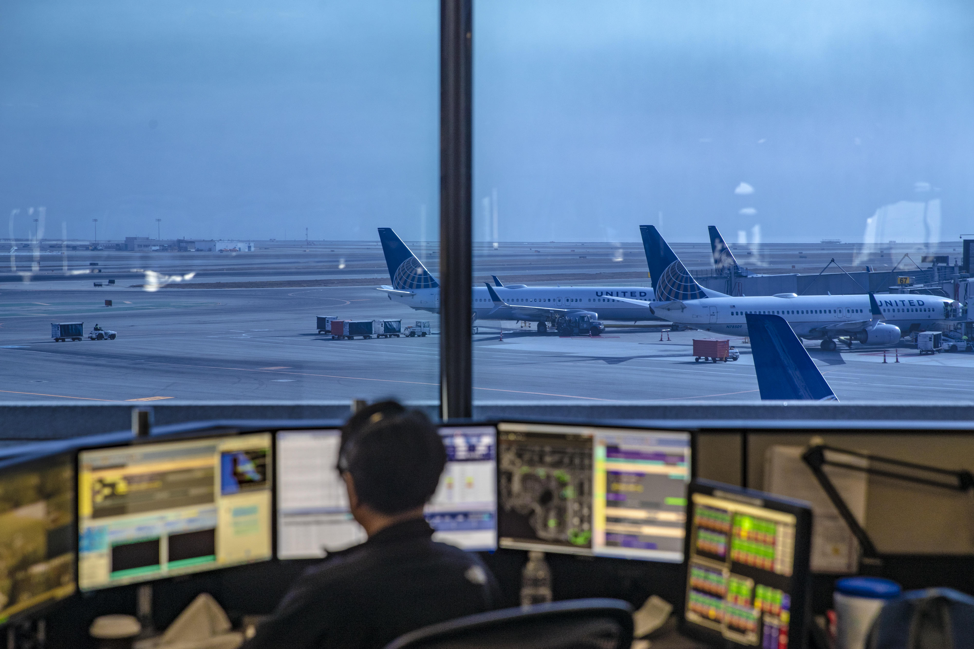 United's Station Operations Center at SFO overlooks the airline's domestic terminal.
