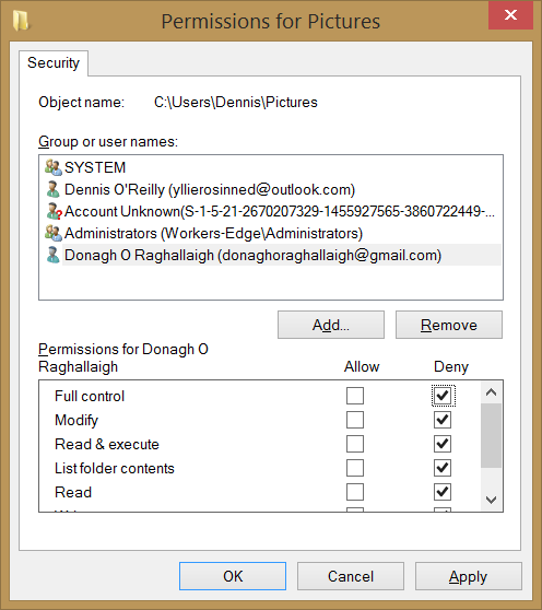 The Security tab of the folder's Properties in Windows 8.1