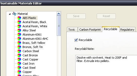 Autodesk Inventor's  Sustainable Materials Assistant