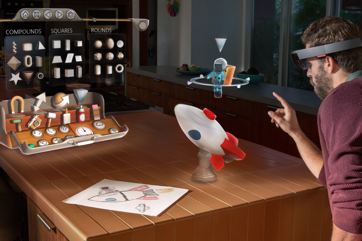 Microsoft's HoloStudio design software combines a virtual 3D world with the real world.