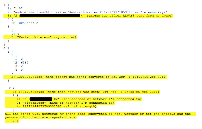 Excerpts from Android connection-logging done by Samy Kamkar. CNET has redacted his device ID and Wi-Fi MAC address.