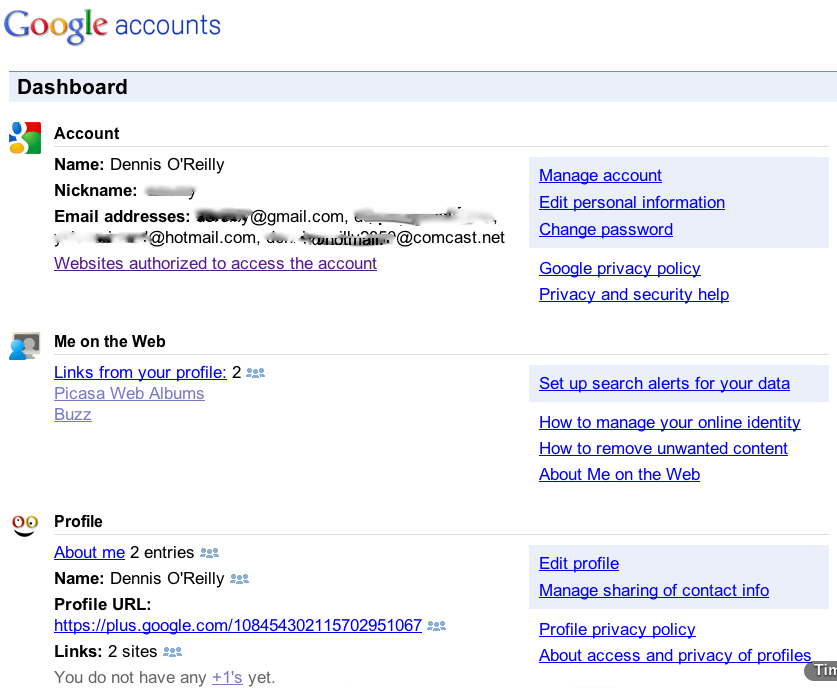 Google Dashboard service listings