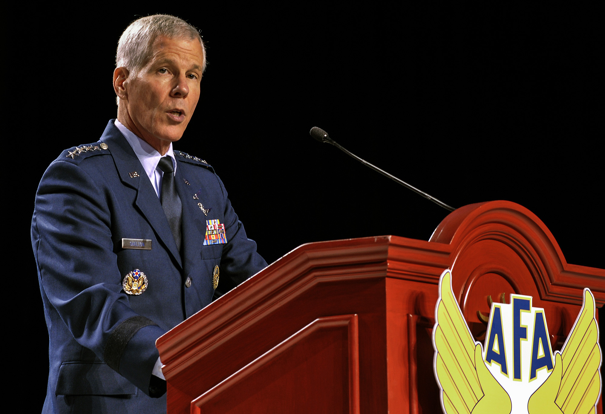 Gen. William Shelton, commander of the U.S. Air Force Space Command, speaks at a conference in Washington, D.C., in August 2012.