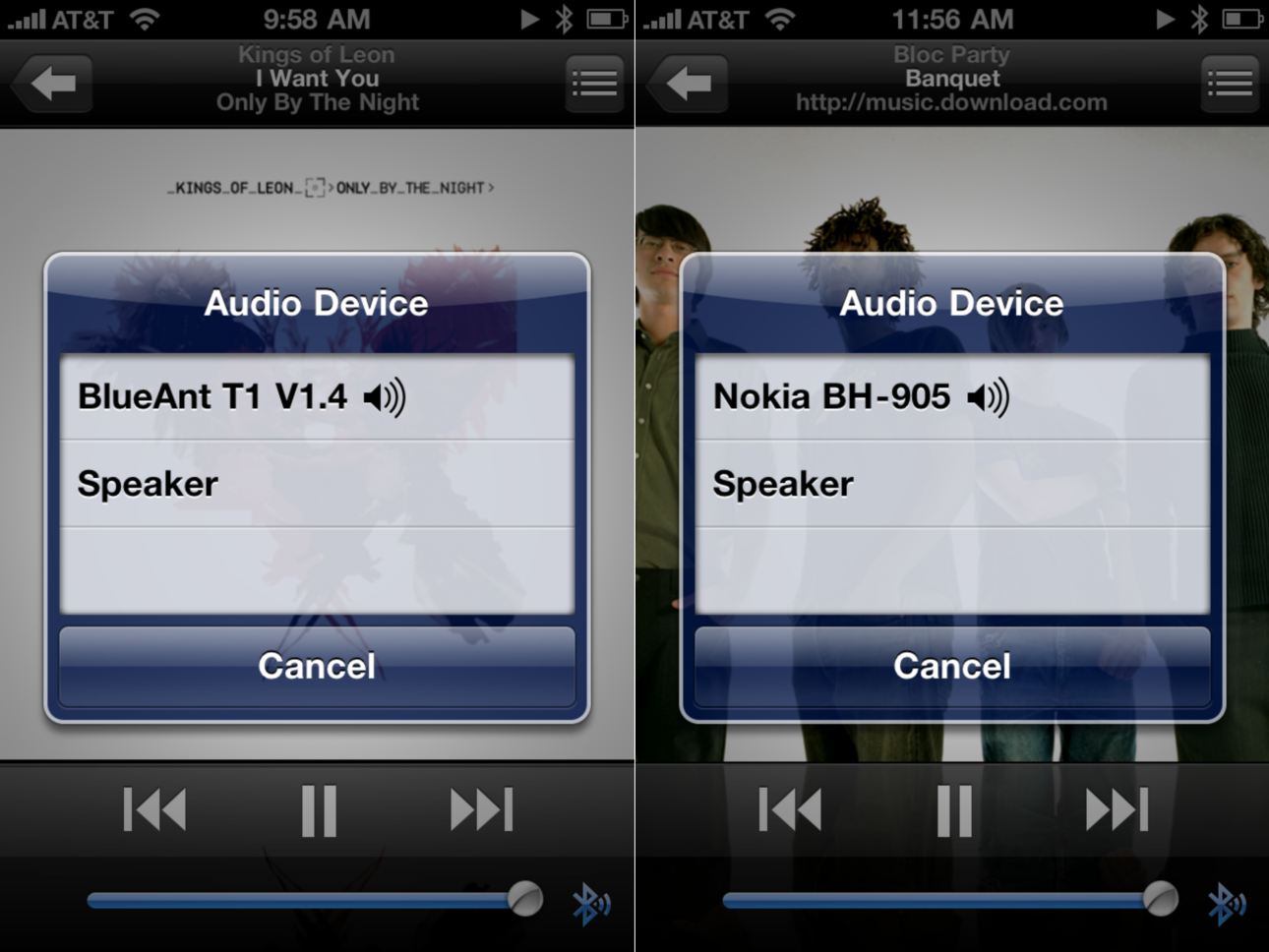 Screenshots that show the BlueAnt T1 and Nokia BH-905 both working with the iPhone 4.