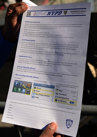 The NYPD's theft prevention form for mobile phone users.